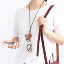 Brown - Snap button leather sunglasses necklace