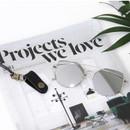 Black - Snap button leather sunglasses necklace