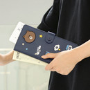 Brown - Line friends RFID blocking long passport case