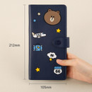Size of Line friends RFID blocking long passport case with leather sticker