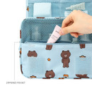 Front zippered pocket - travel hanging toiletry pouch bag