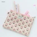 Peach - Jam Jam cute illustration pattern zipper pouch