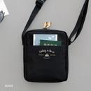 Black - Voyager double zippered crossbody bag