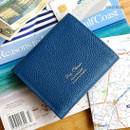 Blue - Day classic cowhide leather trifold wallet