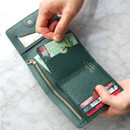 Green - Day classic cowhide leather trifold wallet