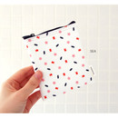 Sea - Pattern small zipper flat pouch