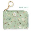 Mint flower - Willow pattern half zip around card case wallet