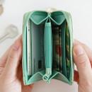 Inside of Willow pattern half zip around card case wallet