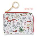 White fox - Willow pattern half zip around card case wallet