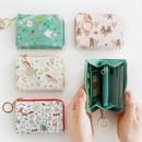 Willow pattern half zip around card case wallet