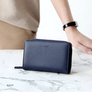 Navy - Caily zip around accordion medium leather wallet
