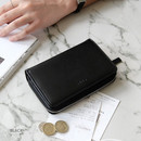 Black - Caily zip around accordion medium leather wallet