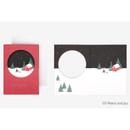 Peach and joy - Christmas illustration folding message card