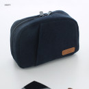 Navy - A low hill winter corduroy zip around small cosmetic pouch