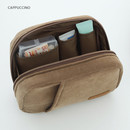 Cappuccino - A low hill winter corduroy zip around small cosmetic pouch