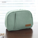 Dim mint - A low hill winter corduroy zip around small cosmetic pouch