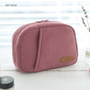Dry rose - A low hill winter corduroy zip around small cosmetic pouch