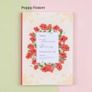 Poppy flower - Flower illustration undated weekly diary