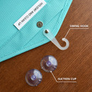 Swinging hook, suction cups