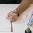 Tic-tock knock retractable black ballpoint pen 0.38mm