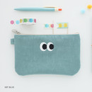 Sky blue - Som Som stitch pocket zipper pouch
