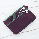 Purple - Som Som stitch pocket zipper pouch