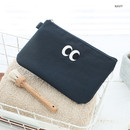 Navy - Som Som stitch pocket zipper pouch