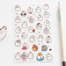 Molang cute deco transparent clear sticker set ver5