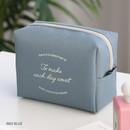 Indi blue - ICONIC Plain cosmetic makeup medium zipper pouch