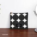 Black dot - ICONIC Plain cotton flat zipper medium pouch with ring