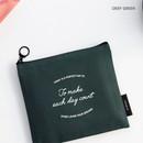 Deep green - ICONIC Plain cotton flat zipper medium pouch with ring