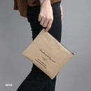 Beige - ICONIC Plain cotton flat zipper large pouch with strap