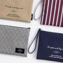 ICONIC Plain cotton flat zipper large pouch with strap