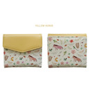 Yellow horse - Indigo Willow story pattern bifold wallet with coin pocket