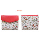 White fox - Indigo Willow story pattern bifold wallet with coin pocket