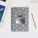 Gray - Gungmangzeung Ghost pop spiral bound plain notebook