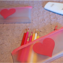 N.IVY Simple heart clear zip lock multi pouch