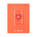 H - love you - Leather sticker clear TPU jelly case for iPhone 7