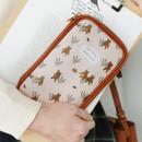 Pink bear - Indigo Willow story pattern zip around pencil case pouch