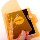 Orange - Retro 6-ring small grid notebook with neon PVC cover