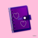 Purple - Retro 6-ring small graph grid notebook
