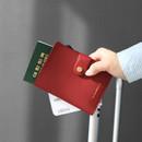 Burgundy - Think about W passport case wallet with zipper pocket