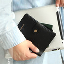 Black - Think about W passport case wallet with zipper pocket