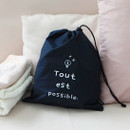 Navy - Think about W large drawstring pouch