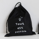 Black - Think about W large drawstring pouch