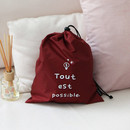 Burgundy - Think about W large drawstring pouch
