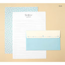 Blue - Soft flower pattern letter paper and envelope