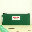 Green - Etudes flat cotton pencil pouch