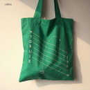 Green - Even odds cotton shoulder tote bag