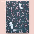Alphabet - Cute illustration hardcover medium lined and plain notebook
